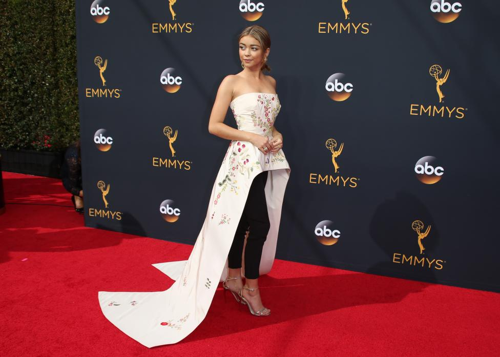 """Actress Sarah Hyland from the ABC series """"Modern Family"""" arrives at the 68th Primetime Emmy Awards in Los Angeles, California"""