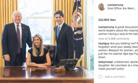 Гнев поради фотографиja на Иванка Трамп од Овалната соба