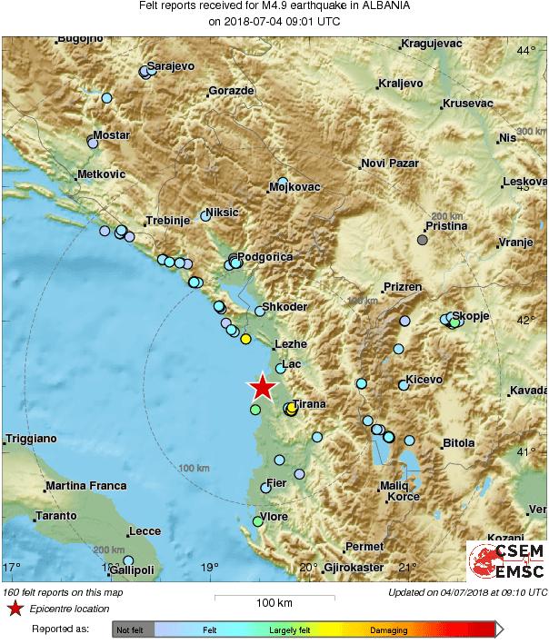 Земјотрес во Албанија почувствуван и во Македонија